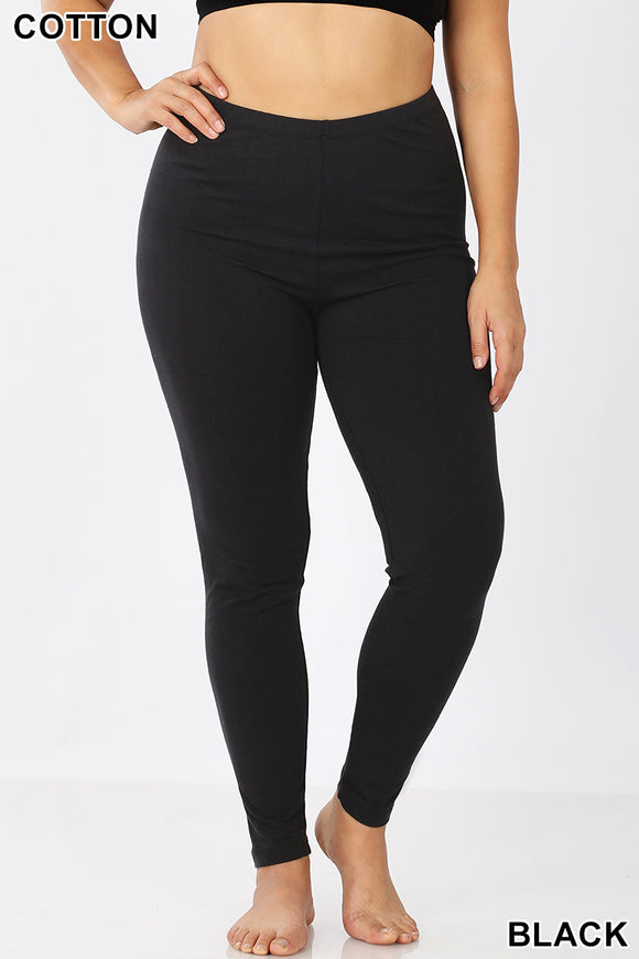 Plus Full Length Cotton Leggings