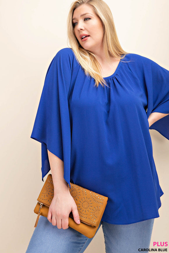 Plus Size Short Sleeve Woven Top