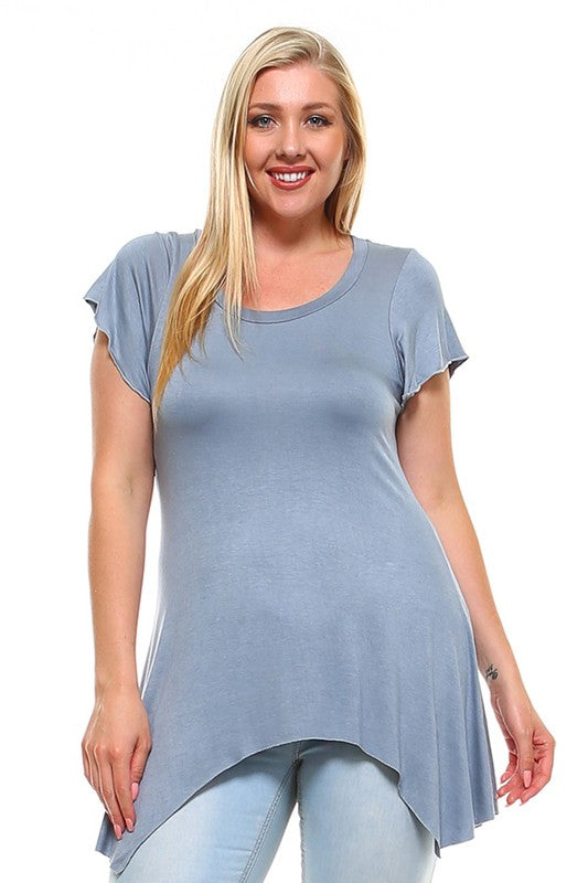 Plus Size Round Neck Top with Asymmetrical Hem