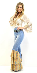 Bell Bottom Jeans with Snake Ruffle Detail