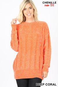 Cable Knit Round Chenille Sweater