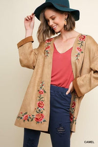Floral Embroidered Open Front Suede Jacket