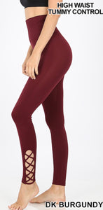 High Waisted Lattice Hem Leggings