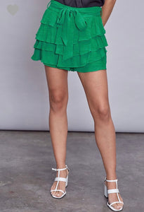Ruffle Front Tie Shorts