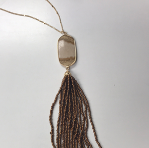 Long Beaded Tassel Necklace