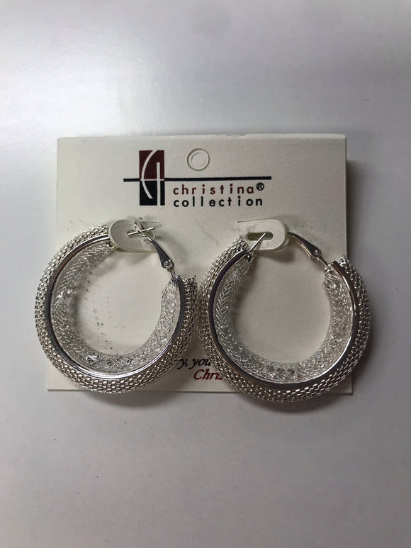 Hollow Mesh Silver Hoop Earrings