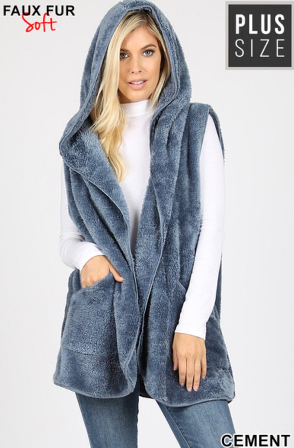 Plus Size Faux Fur Hooded Vest