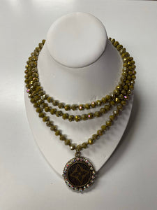 KG Long Bead LV Necklace - Olive