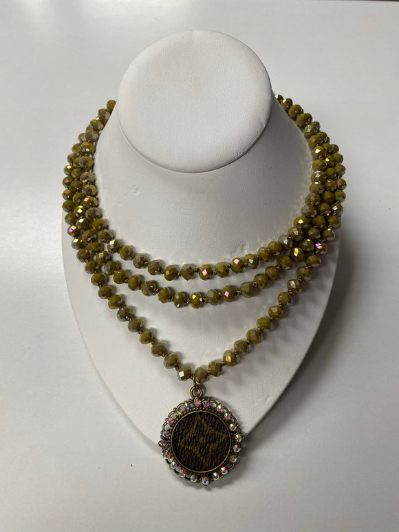 KG Long Bead Upcycled Necklace - Olive