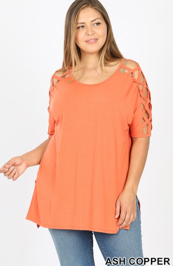 Plus Size Lattice Shoulder Top