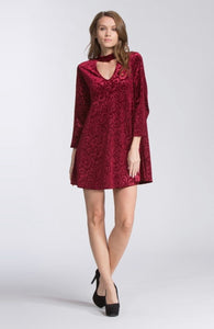 Velvet Print Mock Neck Dress