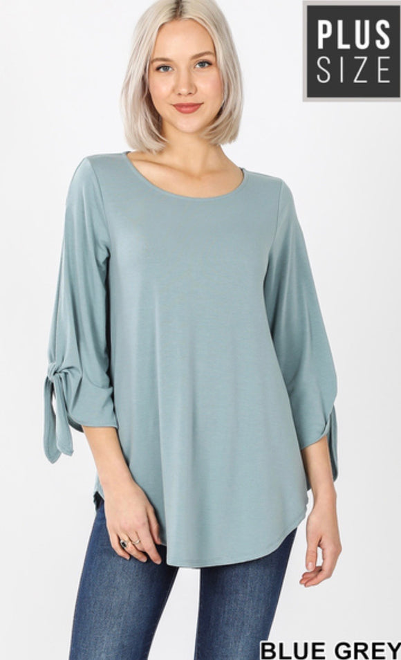Plus Size Split Sleeve Top in Blue Gray