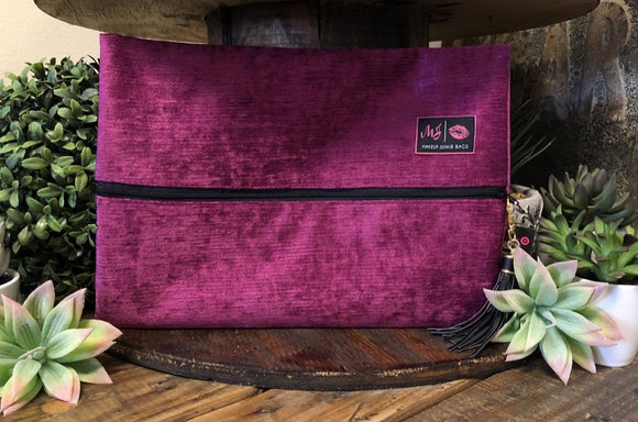 Makeup Junkie Bag - Fuschia Velvet - Small