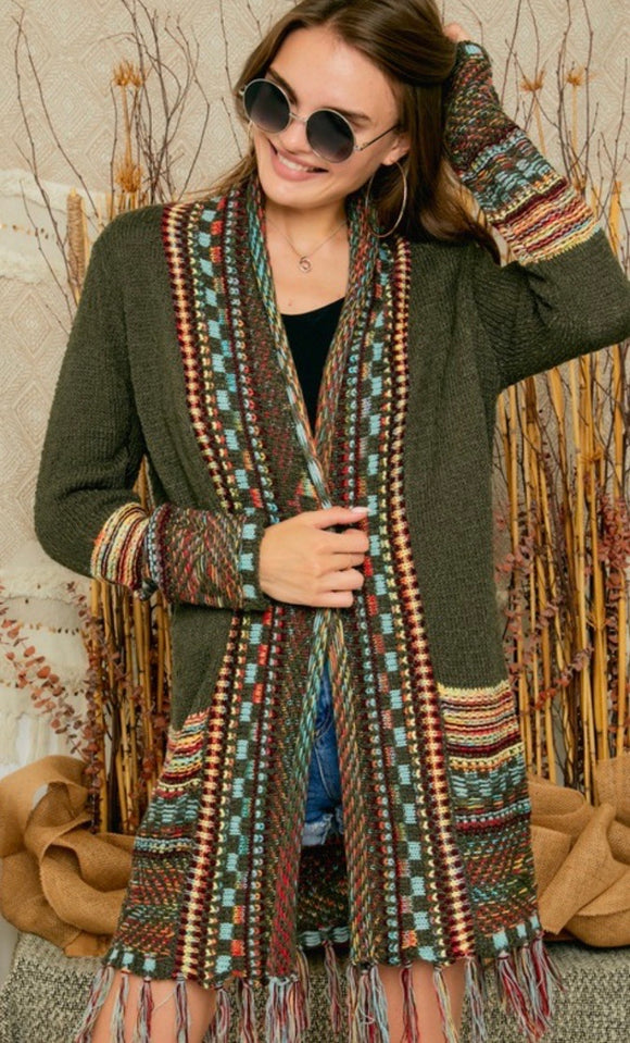 Aztec Patterned Olive Cardigan