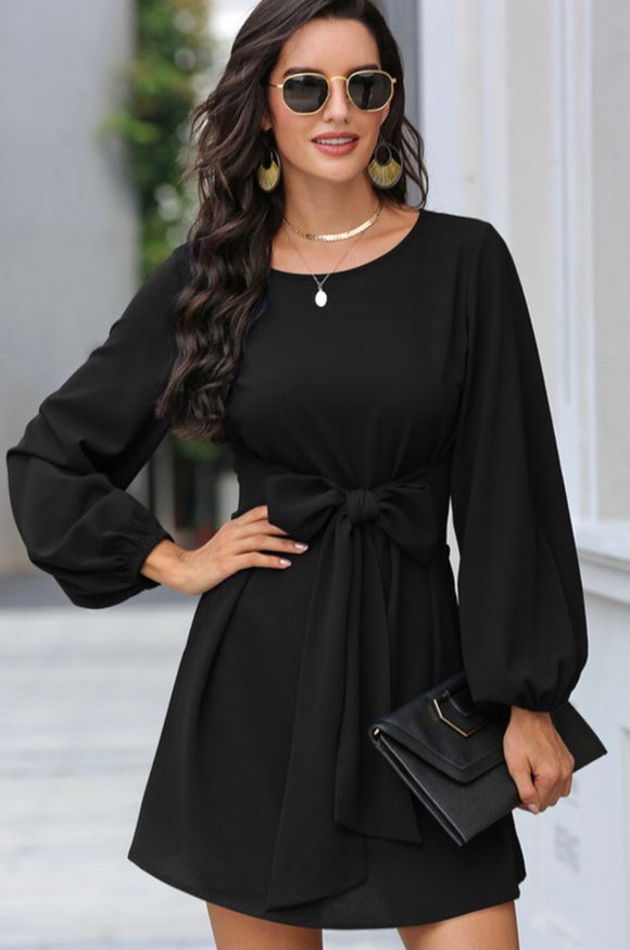 Long Sleeve Tie Front Dress