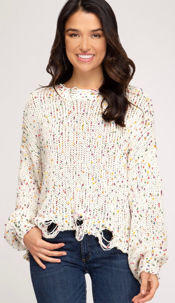 Long Sleeve Distressed Confetti Sweater