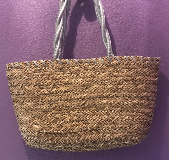 Silver Handle Tote Bag