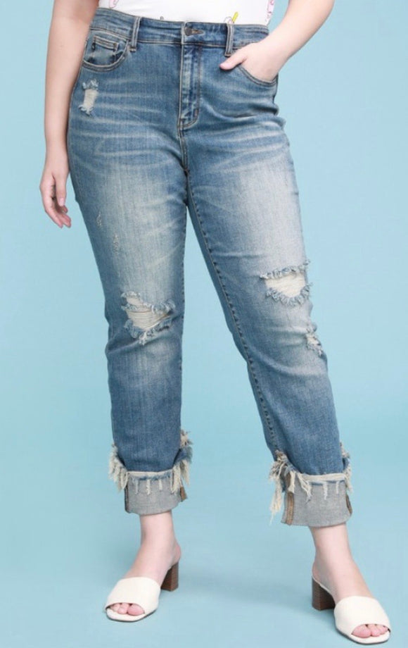 Judy Blue Cuffed Relaxed Straight Fit Jeans