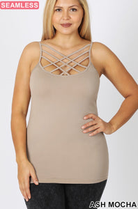 Plus Size Seamless triple criss cross cami