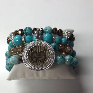 Turquoise Mama Beaded Bracelet Set