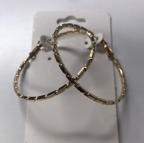 Bamboo Metal Hoop Earrings