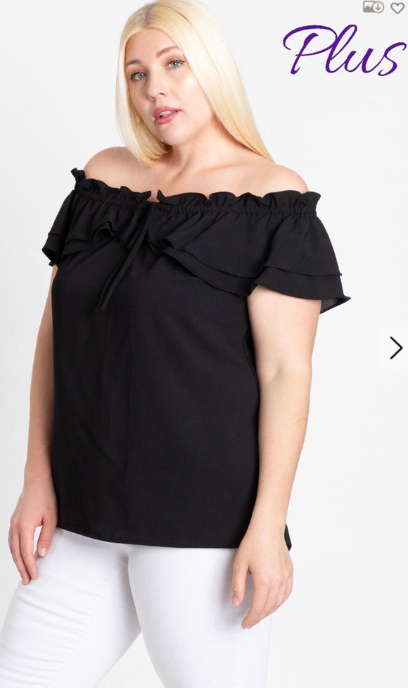 Plus Size Off Shoulder Ruffle Top