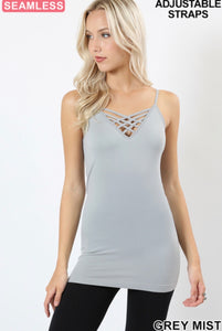 Lattice Front Cami with Thin Adj. Straps