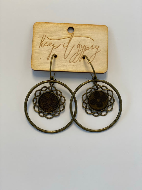 KG Circle Dangle Earrings with LV Pendant