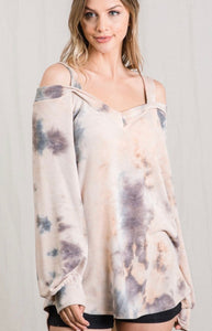 Tie Dye Open Shoulder V Neck Top