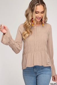 Long Sleeve Smocked Knit Top
