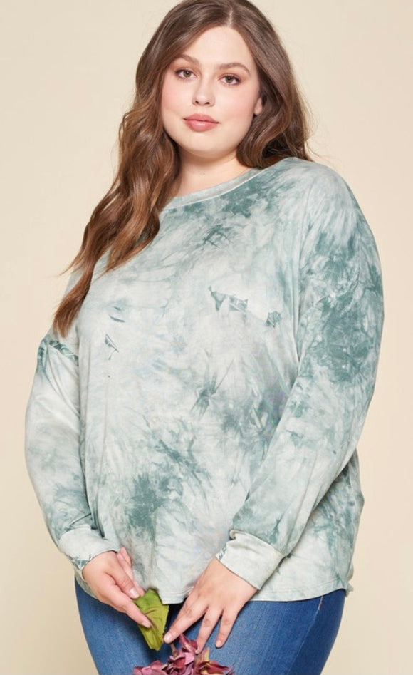 Plus French Terry, Tie-Dye Shirred Top