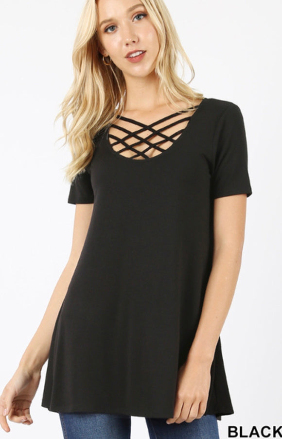 Short Sleeve Lattice Front Top