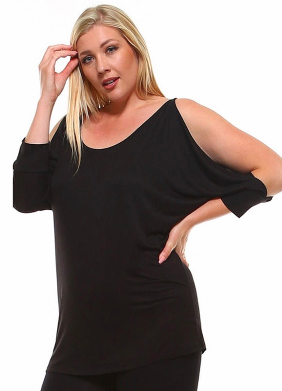 Plus Size Open Sleeve Top