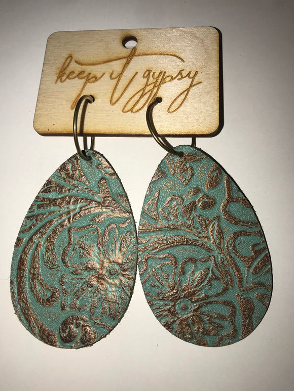 KG Large Leather Teardrop Earrings