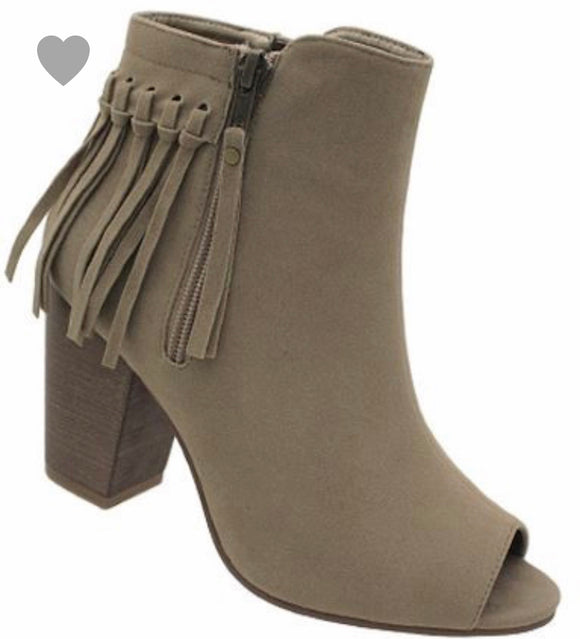 Open Toe Fringe Heeled Ankle Booties