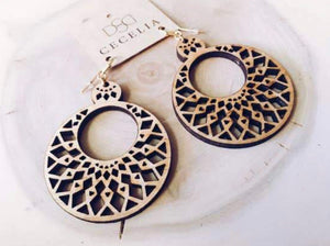 Mandala Tiered Wood Earrings