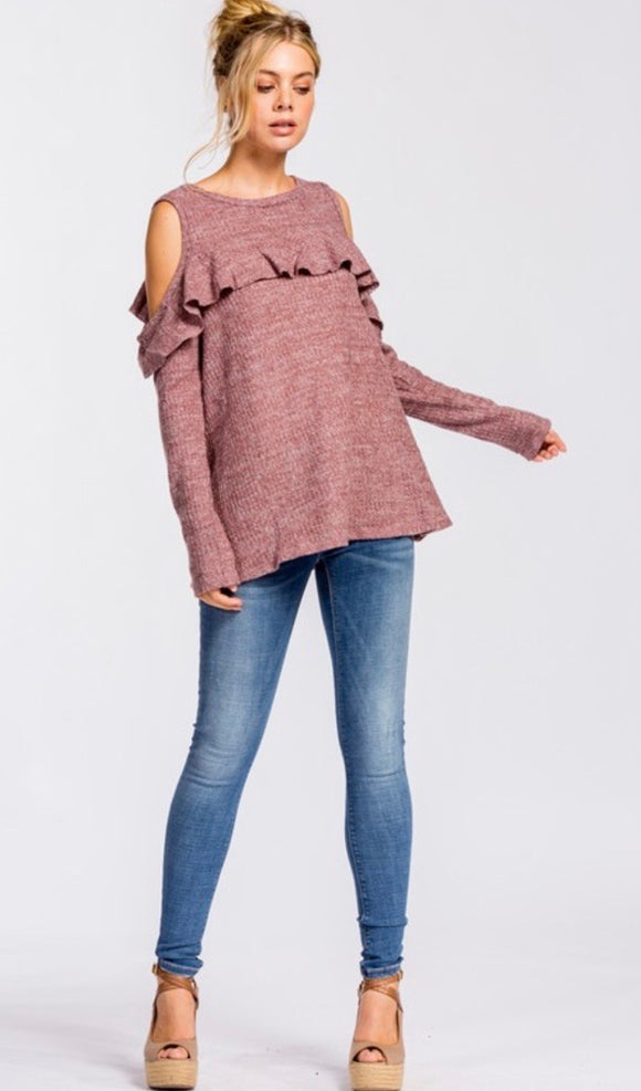 Cold Shoulder Brush Thermal Top