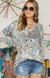 Long Sleeve Lattice Front Top