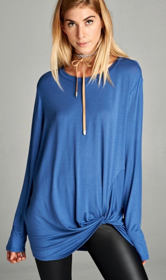 Loose Fit, Long Sleeve, Round Neck Top