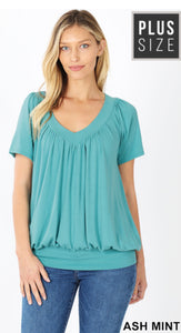 Plus Size Short Sleeve Shirring Top