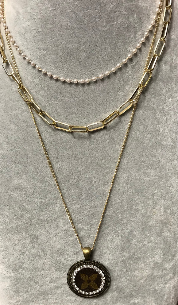 KD Upcycled Pearl & Chain Necklace