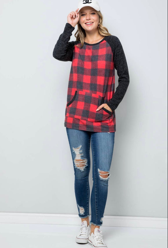 Plus Size Red Plaid Top