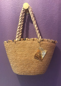Straw Tote with Ribbon Strap