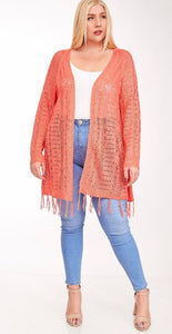 Plus size cardigan with fringe trim