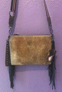 MW Animal Skin Crossbody Purse - Brown