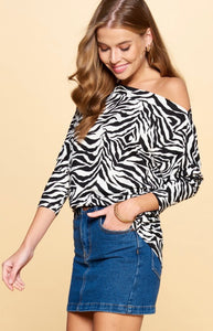 Animal Print Boatneck Top