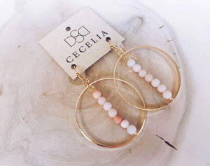 Coral Jasper Gold Plated Hoop Earrings