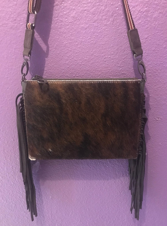 MW Animal Skin Crossbody Purse - BRN