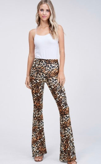 Bell Bottom Leopard Print Leggings
