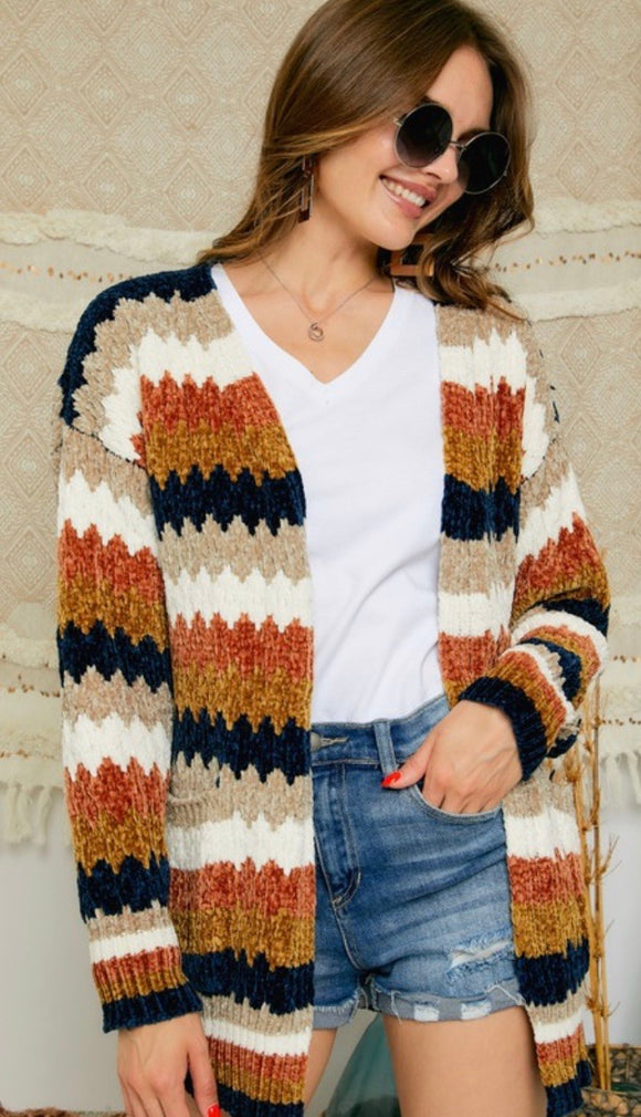 Striped Open Front Chenille Cardigan